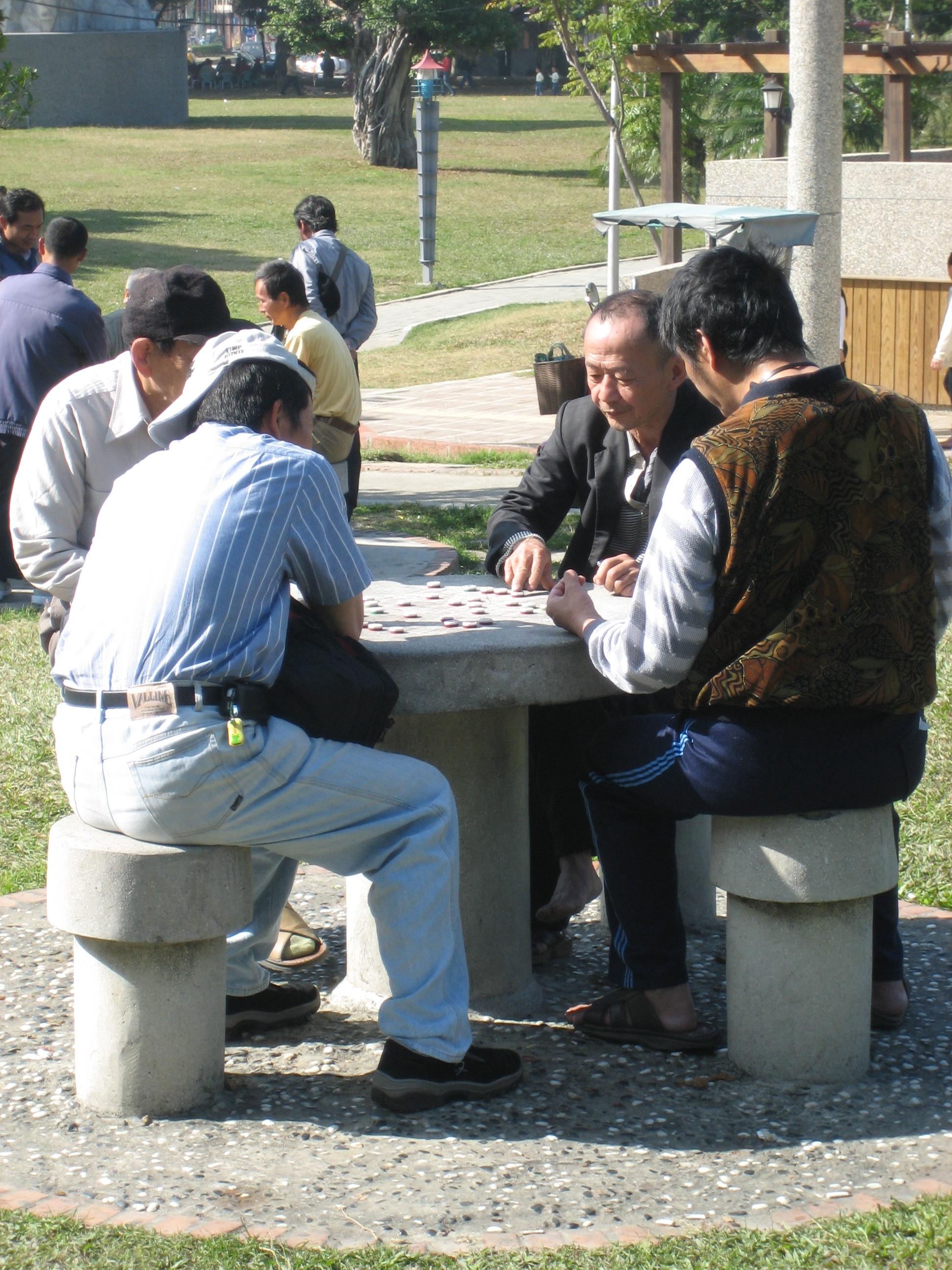 Mahjong players in Taichung garden