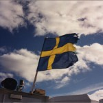 Swedish flag on the boat