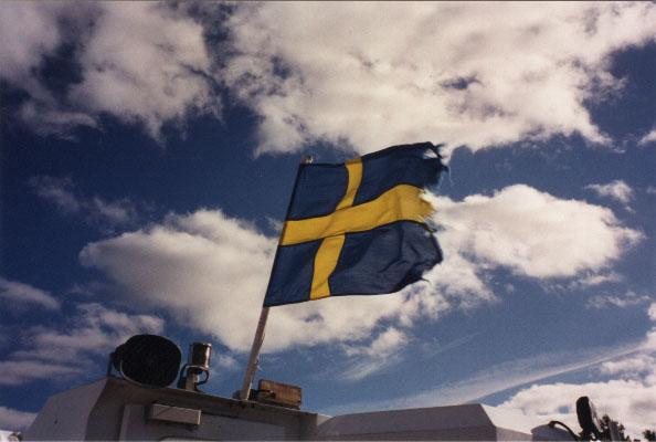 Swedish flag on the boat